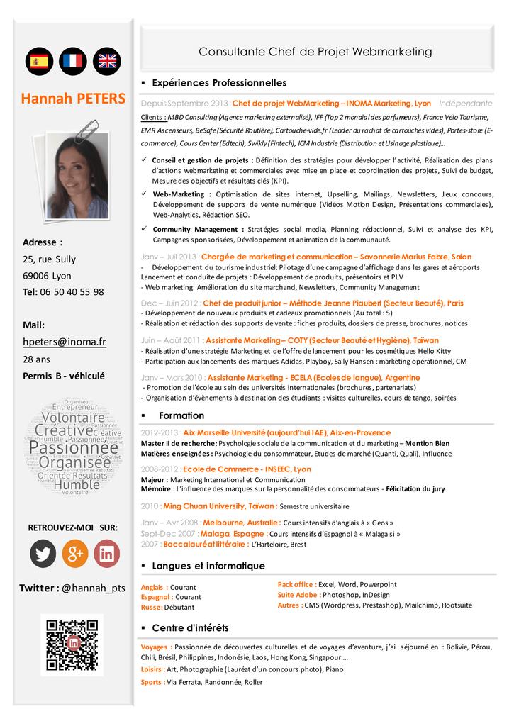 Remarquable VOIR MON CV - Inoma, Freelance chef de projet marketing et e BP-74