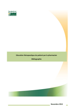 Education thérapeutique du patient par le pharmacien