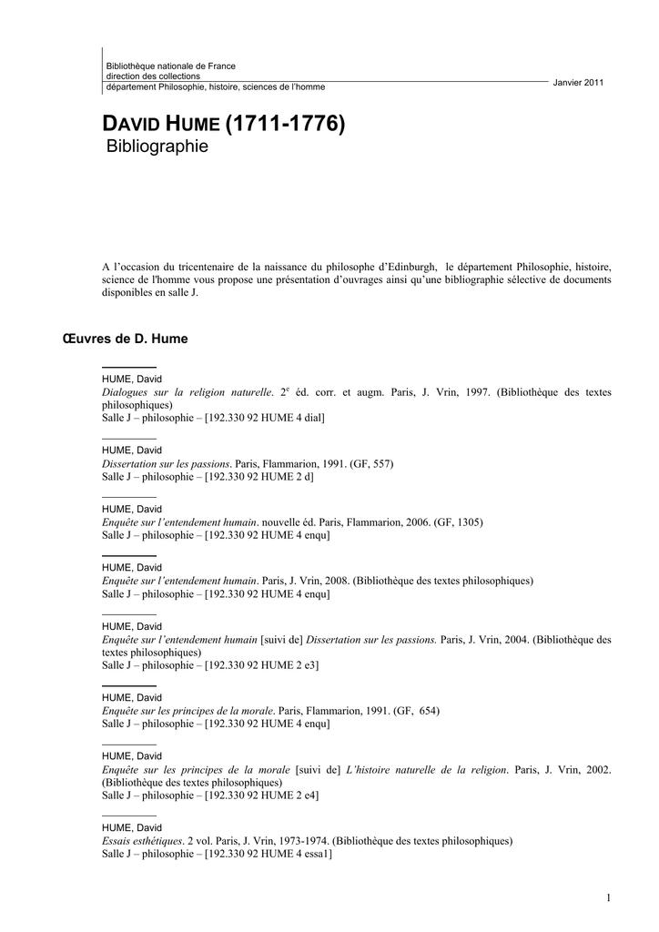 dissertation sur les passions hume gf flammarion