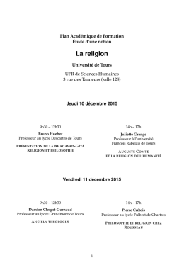La religion - Philo à Tours