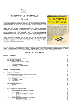 electronique industrielle resume table des matieres