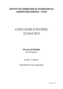 Annales Concours IFTLM 2015 Biologie