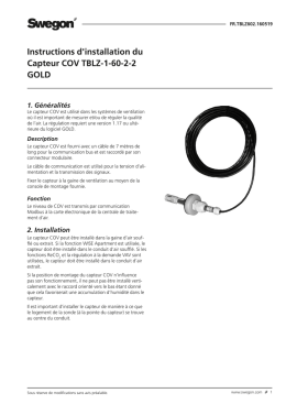 Instructions d`installation du Capteur COV TBLZ-1-60-2