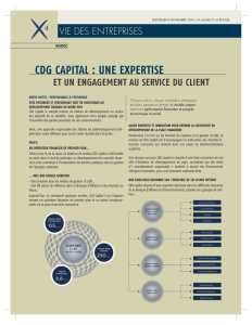 CDg CapITaL : unE ExpERTISE