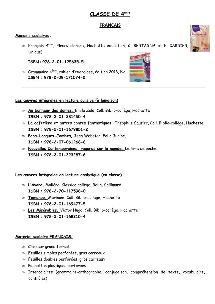 Listes Livres Et Fournitures Classe De 4eme
