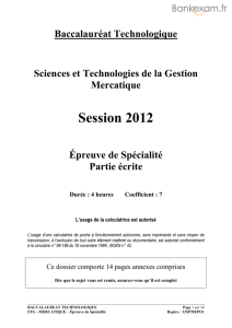 Sujet du bac STG - Mercatique (Marketing) 2012