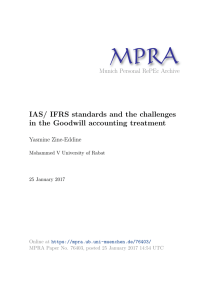IAS/ IFRS standards and the challenges in the Goodwill accounting