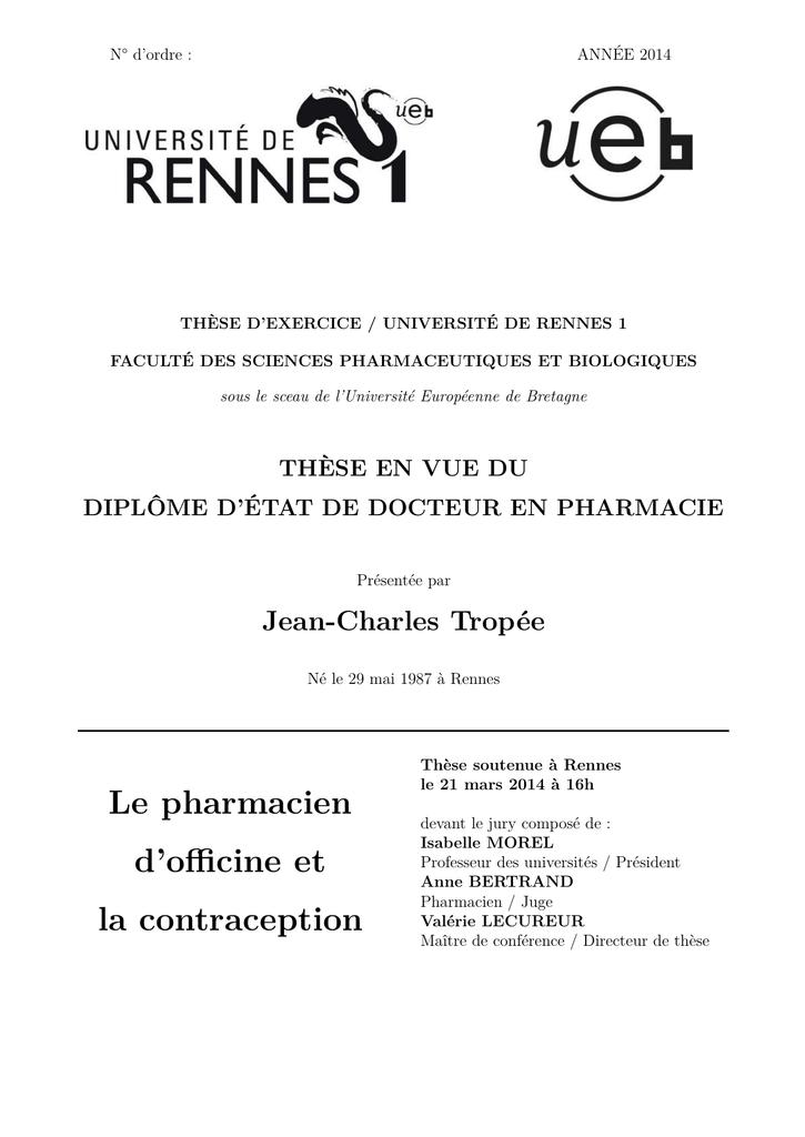 Le pharmacien d`officine et la contraception