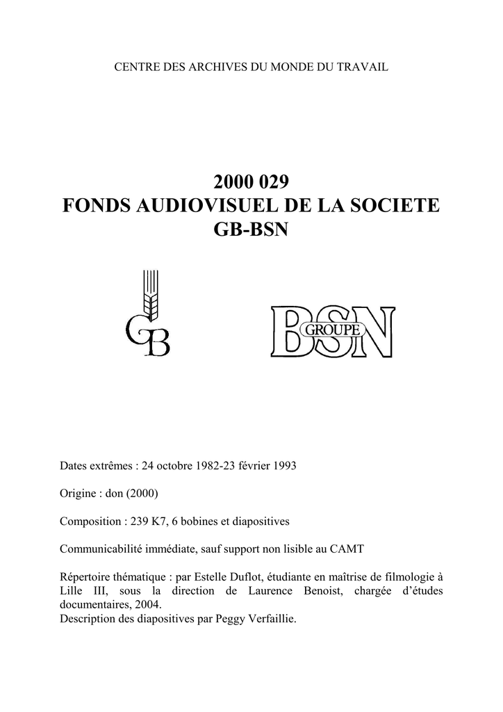 2000 029 Fonds Audiovisuel De La Societe Gb Bsn