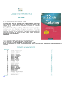 tables des matieres les 22 lois du marketing resume