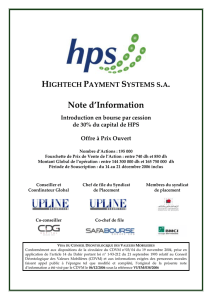 HIGHTECH PAYMENT SYSTEMS SA: Introduction en bourse