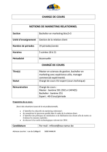 charge de cours notions de marketing relationnel - (ESA)