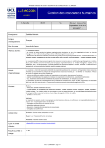 UCL - Gestion des ressources humaines [ LLSMG2054 ]