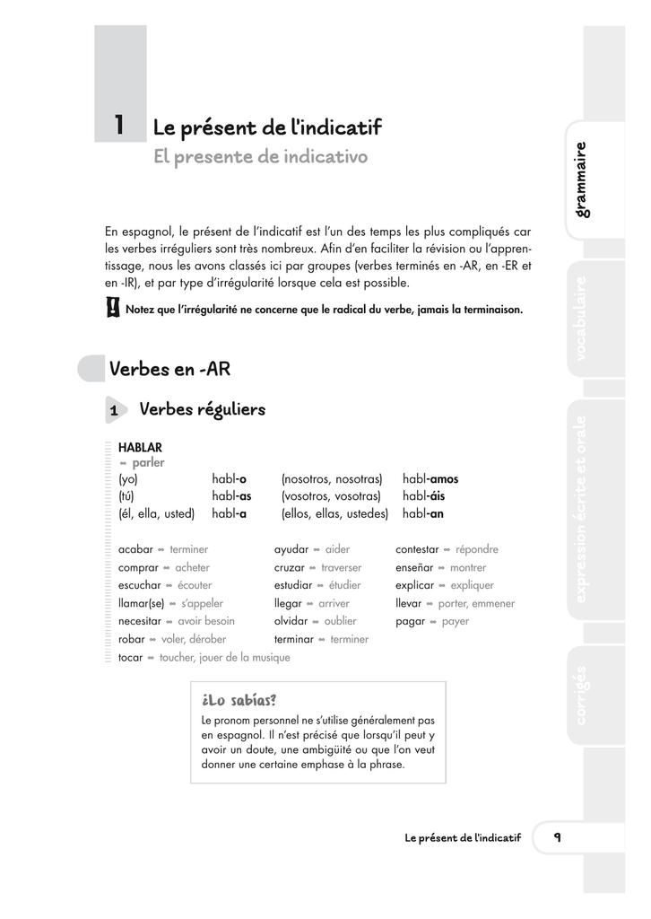 1 Verbes Reguliers Editions Ellipses