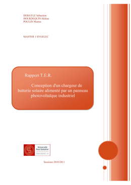 Rapport TER2011 Chargeur batterie PV