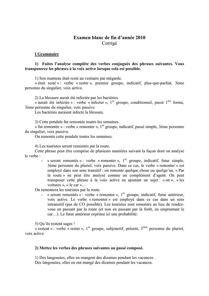 Examen Blanc De Fin D Annee 2010 Corrige