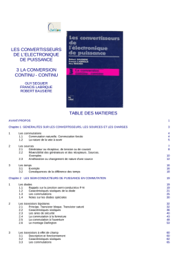 continu table des matieres