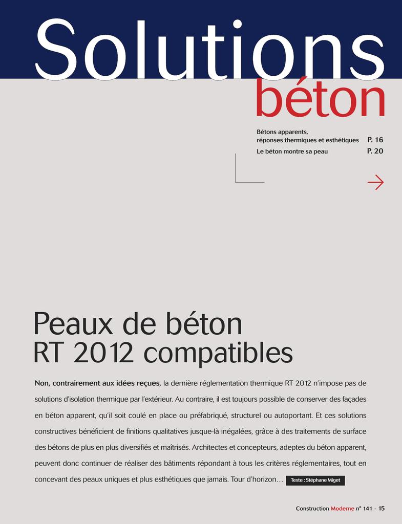 Béton Haute Performance Recette télécharger le fichier pdf n°141 - peaux de béton rt