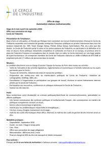 Offre de stage Assistant(e) relations institutionnelles