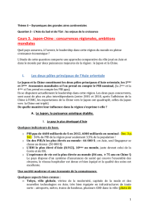 Cours 3. Japon-Chine : concurrences régionales, ambitions mondiales