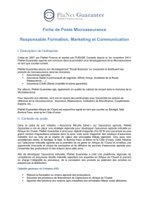 Fiche de Poste Microassurance Responsable Formation, Marketing