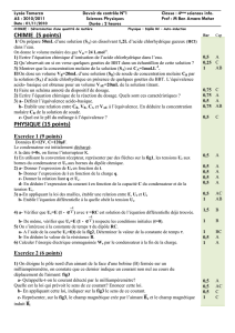 CHIMIE (5 points) PHYSIQUE (15 points)