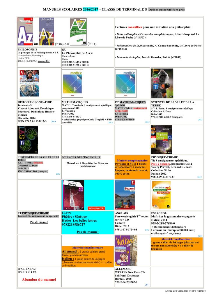 Liste Manuels Terminale S