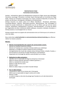PROPOSITION DE STAGE Assistant(e) Communication Anticipa