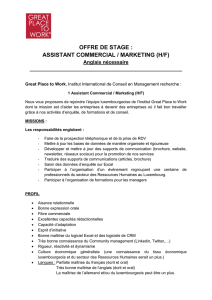 offre de stage : assistant commercial / marketing (h/f)