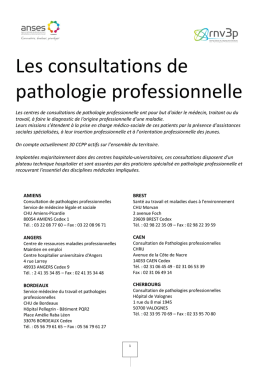 Les consultations de pathologie professionnelle