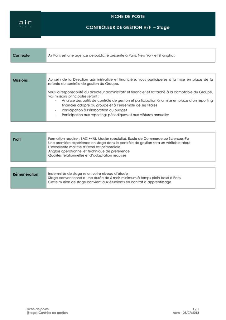 FICHE DE POSTE CONTRÔLEUR DE GESTION H/F - Stage