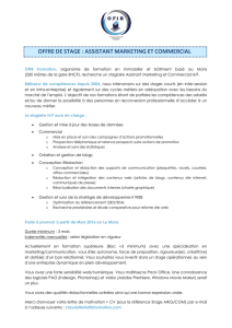 OFFRE DE STAGE : ASSISTANT MARKETING ET COMMERCIAL