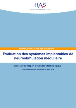 Evaluation des systèmes implantables de neurostimulation