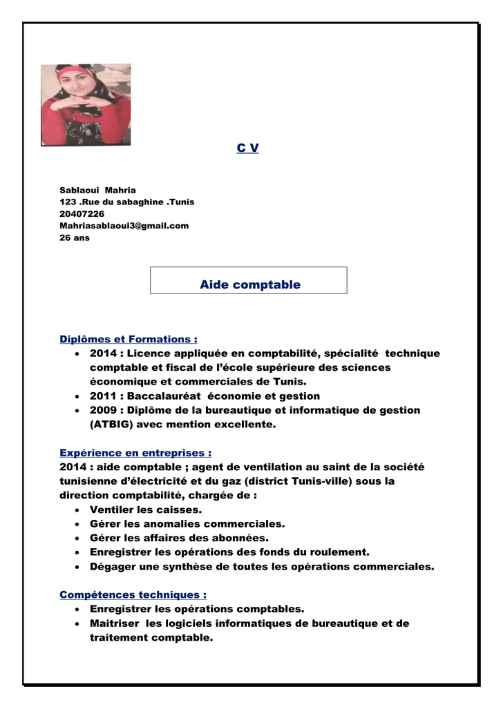 c v aide comptable
