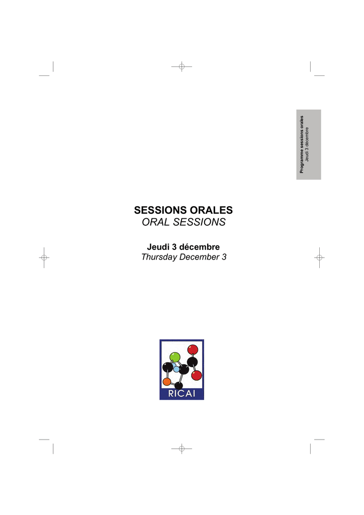 sessions orales oral sessions