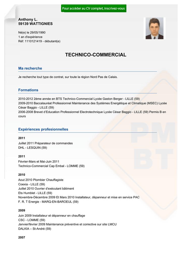 recrutement cv technico-commercial