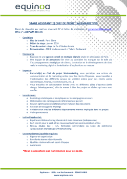 stage assistant(e) chef de projet webmarketing