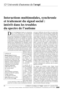 Interactions multimodales, synchronie et traitement du signal