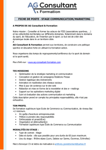 FICHE DE POSTE ‐ STAGE COMMUNICATION/MARKETING