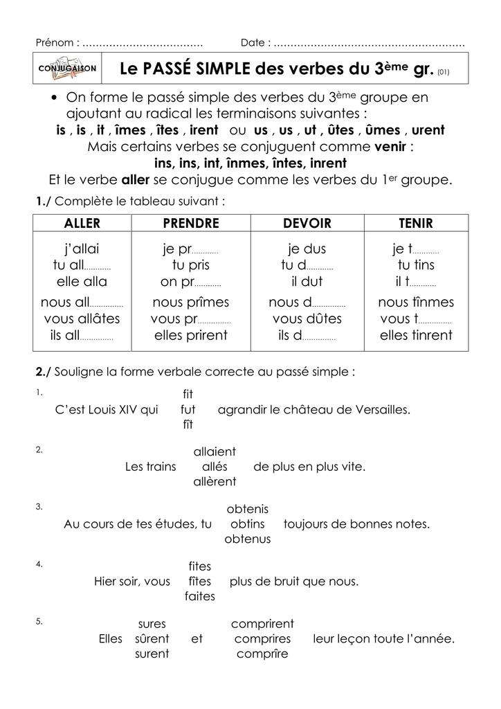 Le Passe Simple Des Verbes Du 3eme Gr 01