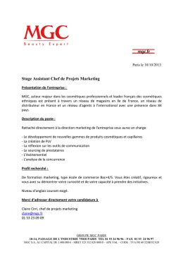 Stage Assistant Chef de Projets Marketing