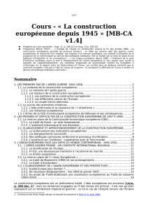 La Construction de l`Europe depuis 1945