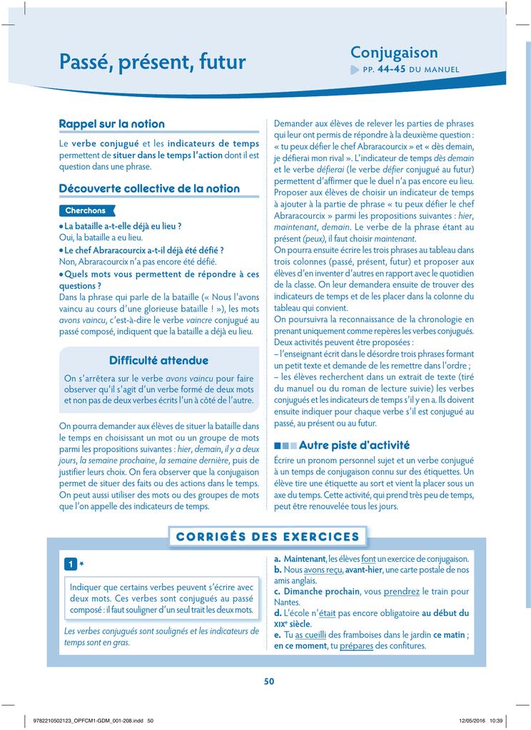 Passe Present Futur Les Nouveaux Outils Pour Le Francais Cm1