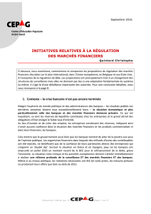 initiatives relatives à la régulation des marchés financiers