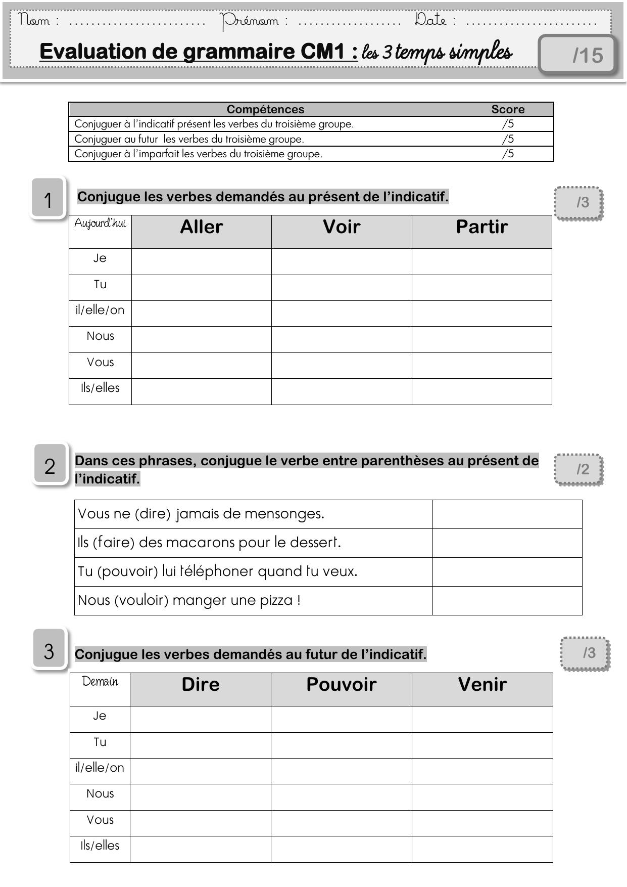 Evaluation De Grammaire Cm1 Les 3 Temps Simples 15 1 2 3