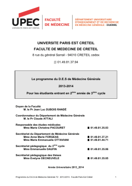 UNIVERSITE PARIS EST CRETEIL FACULTE DE MEDECINE DE