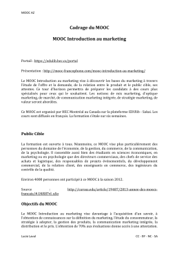 Cadrage du MOOC MOOC Introduction au marketing