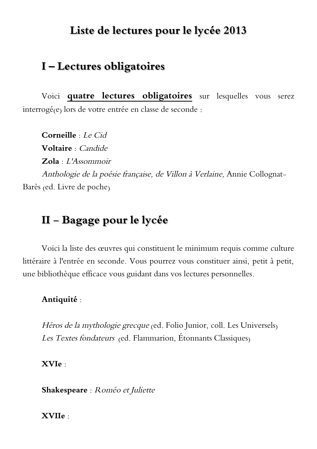 Liste Oeuvres Lycee Pdf