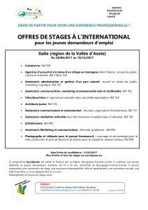 OFFRES DE STAGES À L`INTERNATIONAL
