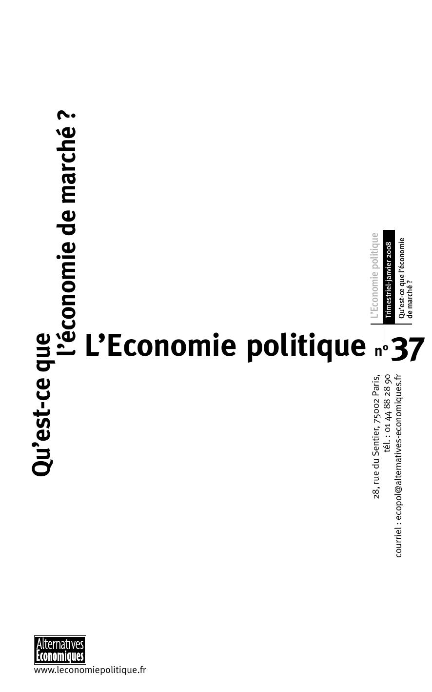L Economie Politique N 37